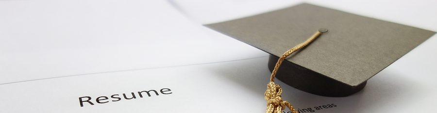 "Master's degree graduation cap on a document entitled ""resume"""