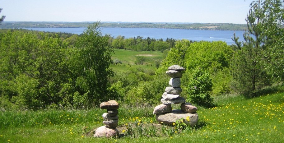 inukshuks on rice lake, Ontario, Canada