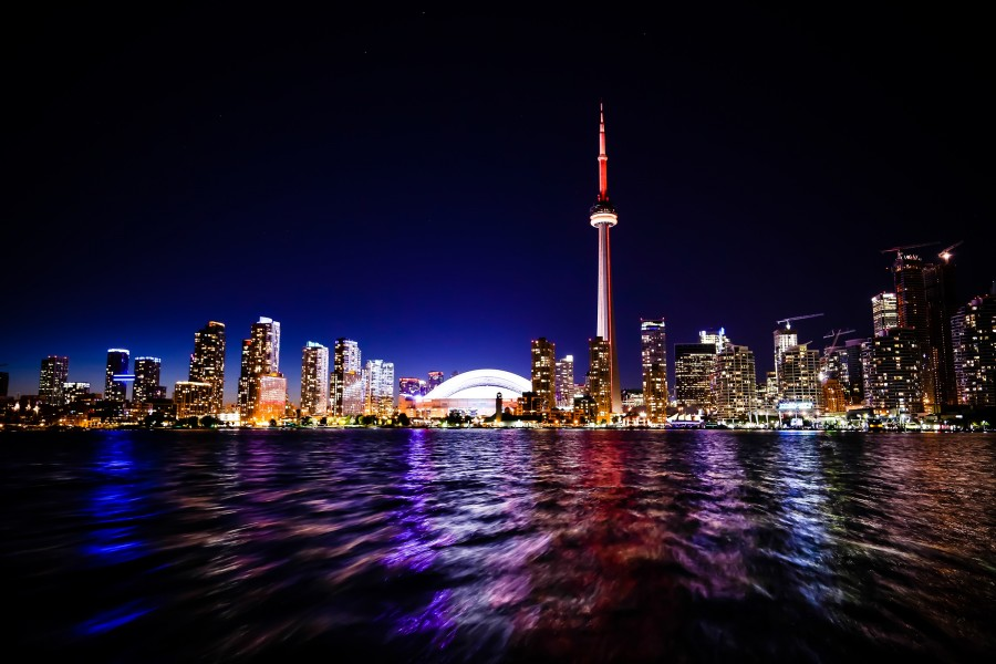 nighttime skyline of Toronto, Ontario Canada