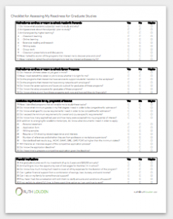 screen capture of worksheet with four categories of questions to consider whether a Master's degree is for you