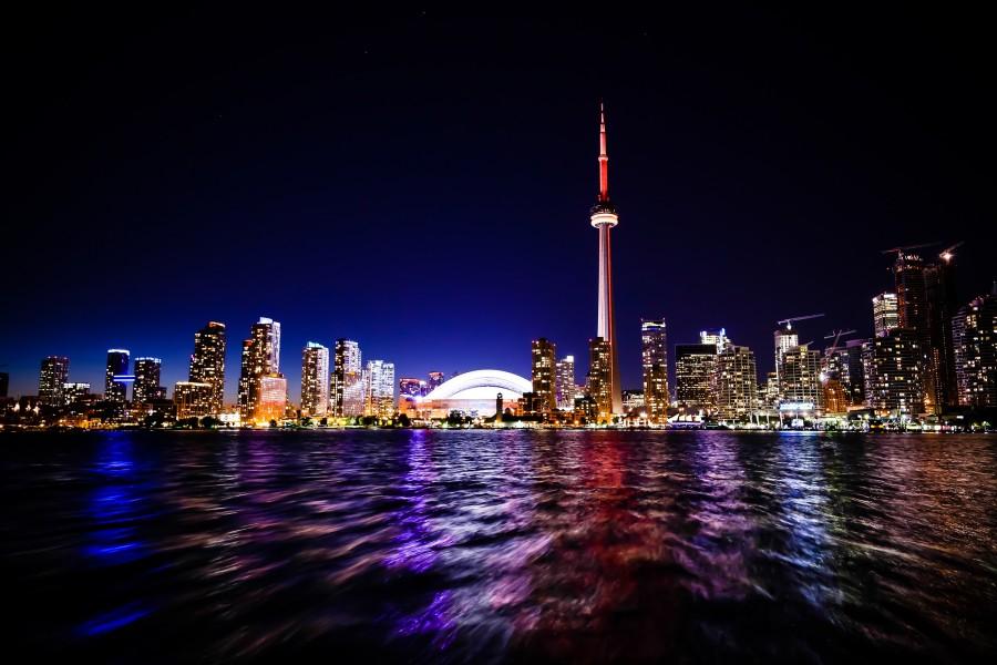 nighttime skyline of Toronto, Ontario Canada