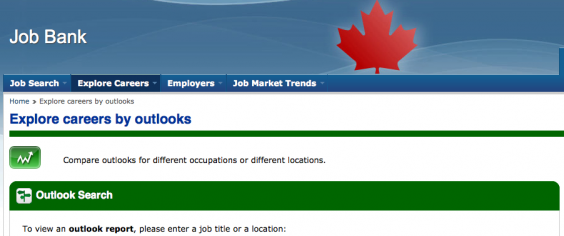 Canada's job bank webpage