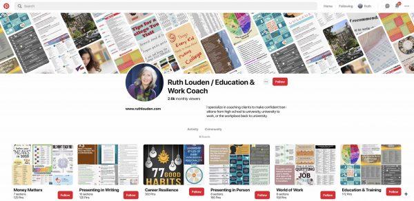ruth louden's six Pinterest Boards